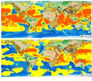 Mappa di distribuzione dell'Architheutis dux., In rosso gli areali di presenza, in giallo gli areali di assenza o non avvistamento. Credits: Coro et al.2015
