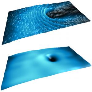 Il flusso di polaritoni che incontra un ostacolo nel regime supersonico (sopra) e nel regime superfluido (sotto)